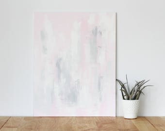 """pink wall art acrylic painting, """"abstract 4"""" - are you my bestie, flat 11x13 canvas, gift for friend, best friend, portrait, gift, wall art"""