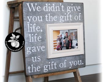 Adoption Frame, We Didn't Give You The Gift Of Life, Adoption Gifts, Personalized Adoption Signs, Gotcha Gift 16x16 Sugared Plums Frames