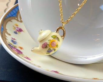Yellow Teapot Necklace - Gift for Tea Lover - Teapot Jewellery