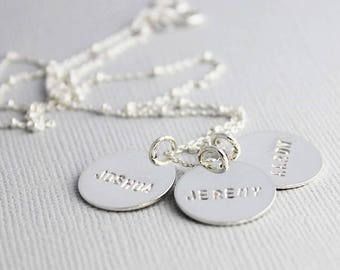 custom mothers necklace, push present, mommy jewelry, hand stamped sterling silver names necklace, natural lettering, gift for her