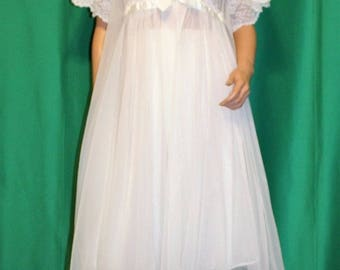Vintage 50s Rockabilly White Nylon Shadowline Nightgown Robe Peignoir Set Size M