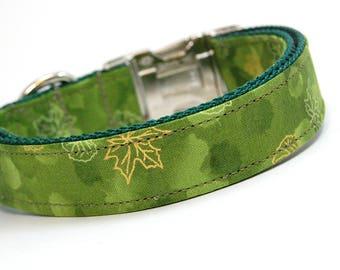 Handmade Dog Collar - Fall Frolic in Green - Fall Dog Collar - Forest Dog Collar with Golden Leaves