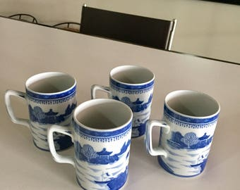 Mottahedeh Blue Canton Porcelain Mugs/Made in Portugal/Mottahedeh Vista Alegre Portugal/ ChinoiserieBy Gatormom13