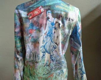"Vintage Impulse California Unlined Long Sleeved Jacket Art Nouveau Imagery & Paris Verbiage Bust 39"" Waist 37"""