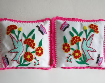 Handmade Mexican Botanical Bird Pillows