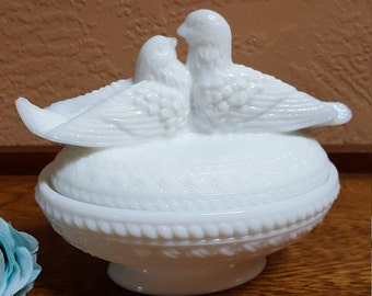 Westmoreland Love Birds in White Milk Glass, Covered Candy Dish - Oak Hill Vintage