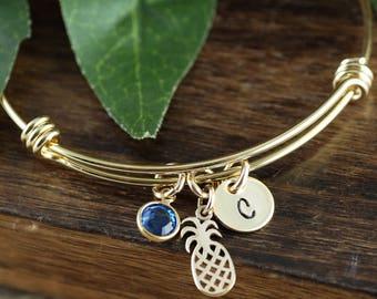 Gold Pineapple Initial Bracelet, Pineapple Bracelet, Pineapple Jewelry, Gold Pineapple Bangle Bracelet, Hawaii Jewelry, Pineapple Pendant