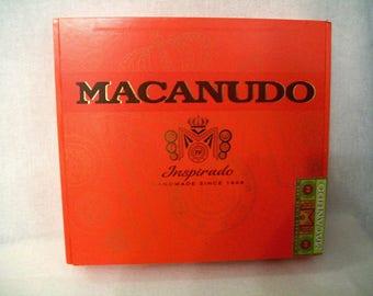 Empty Cigar Box for Crafting - Macanudo - Inspirado - Beautiful Red Orange color