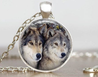 Two Wolves Glass Tile Pendant Jewelry  Gray Wolf Jewelry Wolf Necklace