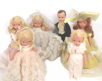 Vintage Nancy Ann Wedding Party Dolls Set of 6 Bisque Bridal Storybook Dolls