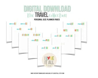 Travel Planner Insert Pages . Printable, Filofax Personal Planner Downloads, Digital Planner Download, Sights to See, Packing List, Places