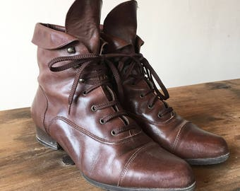 Vintage 90s Brown Leather Lace Up Boots, Ankle Boots, Roper Boots, Made In Italy, Size 38, Size 7.5