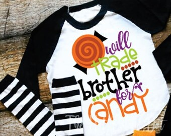 Girls Halloween Shirt, Will Trade Brother for Candy, Sibling Halloween Shirt, Black Sleeve Raglan, Infant Toddler Youth Girl Baseball Shirt