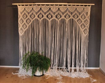 large macrame wedding backdrop for decor at indoor or outdoor ceremonies by width
