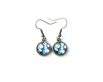 Blue & White Flower Earrings, Glass Cabochon Drop Earrings, Flower Charm Earrings, Antique Bronze Earrings, Blue Jewellery, UK. 723
