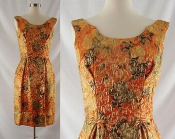 Vintage Sixties Dress - 1960's Orange Metallic Cocktail Dress - 60's Sleeveless Brocade Dress - XS Wiggle Dress