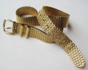Vintage 70s Gold Mesh Belt Buckle Choker Collar Necklace