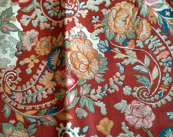 Paisley Floral Print on Dark Red Vintage Rayon Fabric 2 1/2 Yards X1157