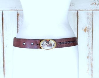 Vintage dark brown tooled braided leather western belt/stone buckle belt/boho/hippie country western leather belt/44