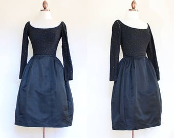 vintage 1960s satin and eyelet cocktail dress   60s Safinia Saks Fifth Avenue black party dress with crinoline   XXS