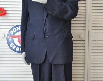 Vintage 40's 50's Men's 2 Piece Suit Set Pants-Jacket Navy Blue Hart Schaffner & Marx Dacron Wool Milliken 1949 Union Label Costume Medium