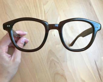1960s Dark Brown Glasses Frames // Heavy Squared Wayfarers