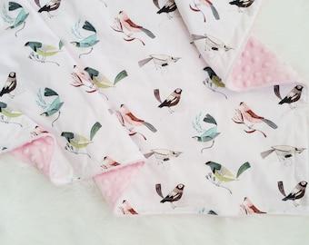 Perch baby blanket, minky baby blanket, faux fur baby blanket, bird baby blanket, bird baby bedding, bird nursery