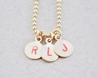 Gold Filled Letter Stamped Necklace - Colorful Name Charm Pendant Set