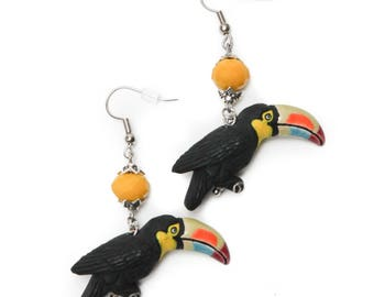 Hand Painted Toucan Bird Beaded Earrings