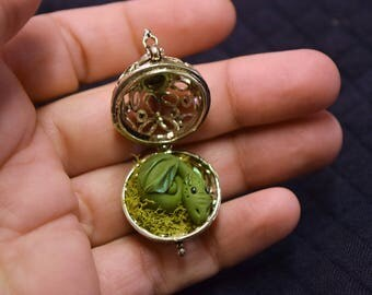 Olive Green Dragon, Pet Dragon Locket, Olive Green and Light Green Dwagon, Teeny Tiny Dragon, 'Baby Dwagon Locket'