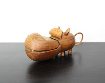 Zoo Line Wooden Hippo Figurine and Jewelry Box, Collectible Mid Century Modern Park Souvenir Copyright 1959, Desktop or Dresser Decor 350021