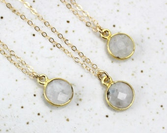 Small Round Moonstone Pendant, Short Gold Necklace, 8mm Faceted Rainbow Moonstone Gold Bezel, 16 Inch Gold Fill Chain Handmade 450475