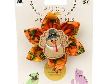 Autumn Dog Bow -Pilgrim Turkey 2 on Pumpkins - Flower - Collar Blossom - Medium Size