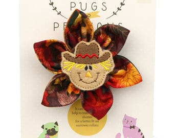 Autumn Dog Bow - Happy Scarecrow on Autumn Leaves - Flower - Collar Blossom - Medium Size