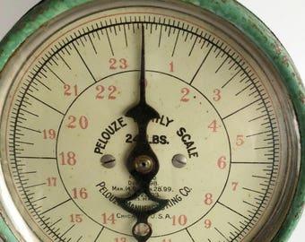 Green Kitchen Scale, Produce Scale, Vintage Pelouse Scale, Farmhouse Kitchen Decor