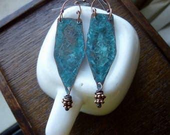 Blue Patina Heishi and Rondelle Antique Copper Earrings, Long Earrings, Drop Earrings, Dangle, Rustic, Bohemian, Tribal, Geometric