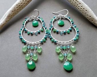 Turquoise Chandelier Earrings, Blue Green Chandelier, Bollywood Earrings: Baga Breeze