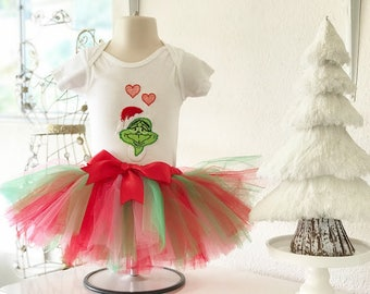 How The Grinch Stole Christmas Infant/Toddler 2 piece Tutu Set - size 12 months - Ready To Ship - Christmas baby outfit - Christmas toddler