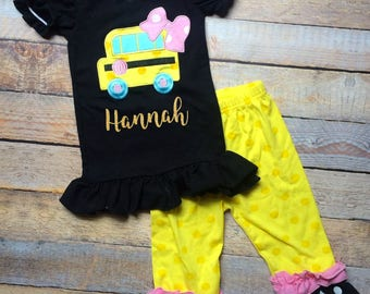 Personalized (any name) Back to school school bus outfit