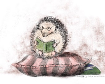 PRINT Hedgie with Books