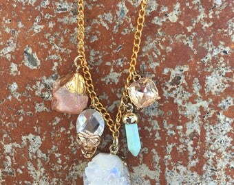 Ultimate Luxury White Crystal Geode Gold Charm Necklace, Mint Turquoise Charm, Peach Citrine Gemstone, Bling Skull and Champagne Rhinestone