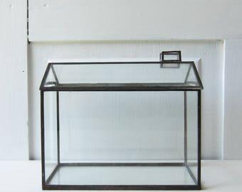 "Vintage Glass House Terrarium / Shadowbox / Display Case - Vintage Handmade 1976 - 7"" tall"
