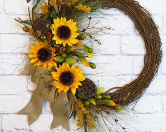 Sunflower Wreath, Fall Wreath, Sunflower Decor, Fall Sunflower Wreath, Rustic Fall Wreath, Rustic Sunflower Decor, Fall Decor