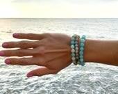 Amazonite Bracelet Stack - Set of three gemstone bracelets, natural gemstone bracelets, stretch bracelets, stretchy bracelet stack, set of 3