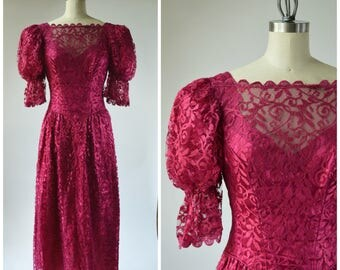 Hideous 80s Dress 80s Party Dress RED Wine Maroon Shiny Lace Over Shiny Satin with Big Puffy Sleeves with Elastic Really Bad JC Penney SMALL