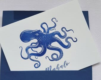 Octopus Letterpress Cards Aloha Mahalo Navy Blue