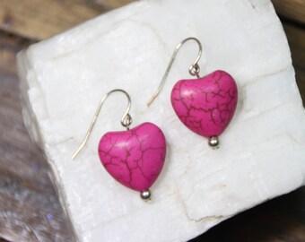 "Hot Pink Magnesite Gemstone Valentine Heart Shape 15mm x 16mm 925 Sterling Silver Wire earrings 1.25"" Long"