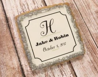 Personalized Wedding Favors, Rehearsal Dinner Favors, Bridal Shower Cookies - 1 Dozen