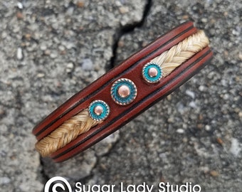 Horse Hair and Leather Bracelet With Copper and Turquoise Accents - Southwestern Flair - Boho Chic