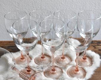set of 8 pretty pink stemware champagne glasses / barware